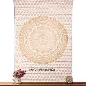 Twin Golden Ombre Bedspreed Indian Cotton Mandala tapestry