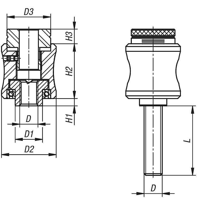 Torque Grips, Precision Version - Fasteners Ball-end thrust screws Thrust screws and thrust pads Grippers Torque b