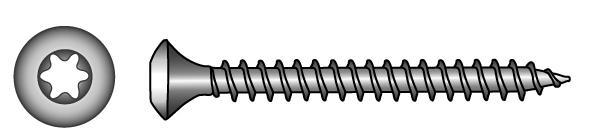 Raised countersunk head timber screws, TX-six lobe drive - Material A2 | A4