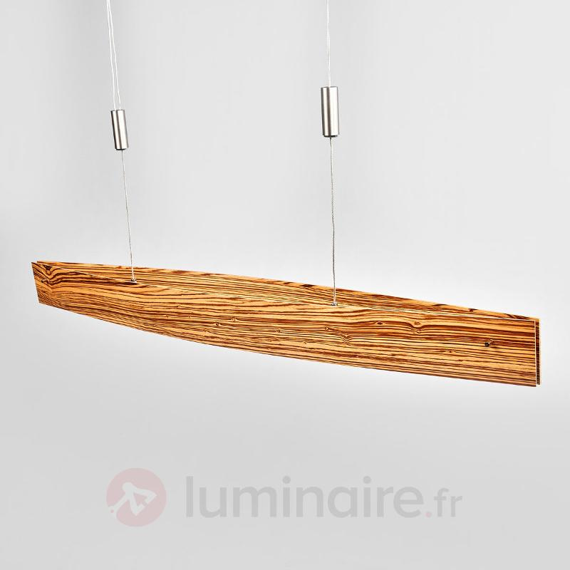 Bois zebrano - suspension LED Malu, variable - Suspensions en bois