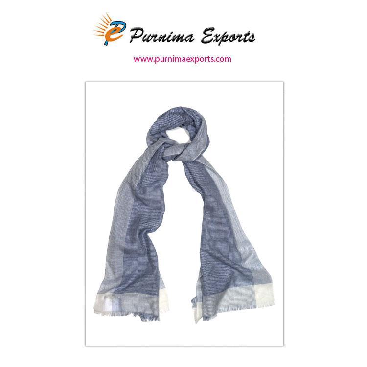 Foulard en lin de couleur bleu-gris  -