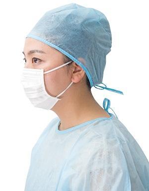 Chapeau de docteur d'attachement - Style: Tie-on Matériel: PP non-tissé / SMS Couleur: Bleu / vert Poids: 15gsm-30g