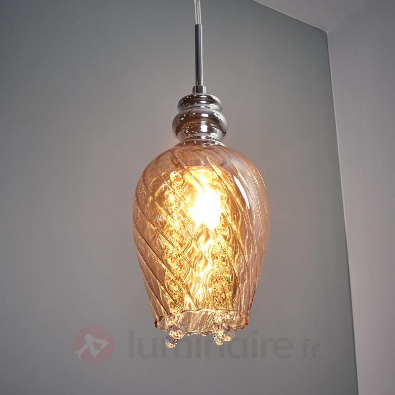 Suspension Minevra glamour avec verre de lampe - Suspensions en verre