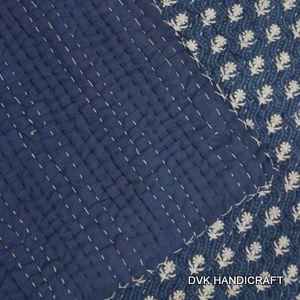 India Kantha quilt, indigo blue block printed kantha quilt - hand block printed cotton kantha quilt, india traditional indigo blue mudrasist