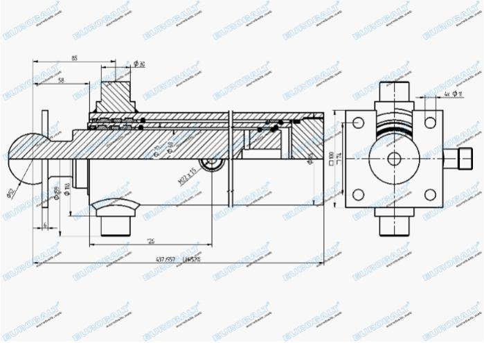 Telescopic two-stage cylinder (piston stroke: 520 mm) - Telescopic two-stage cylinder HC000901