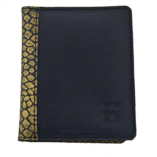 Hammer Coal Genuine Leather Passport Wallet Case With Gold F