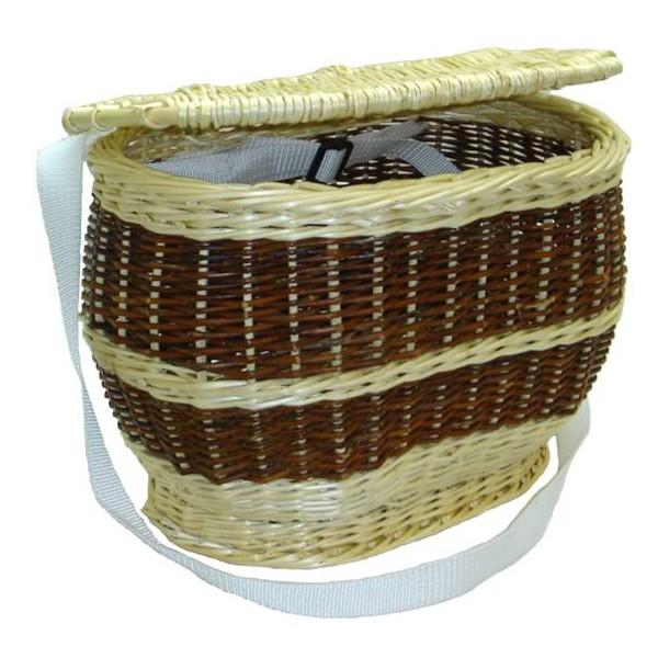 Charmotte ovale couvercle osier blanc ou 2 tons - null