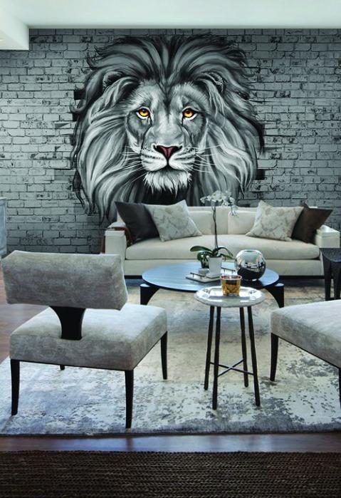 Photo wallpaper  - Non-woven photo wallpaper King of beasts 4x2,7 cm (art. u-24212981)