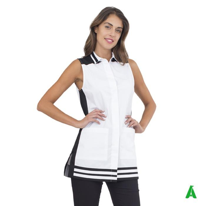 Scamiciato donna per centri beauty personalizzato - Scamiciato con spacchi laterali tessuto a contrasto con logo personalizzato