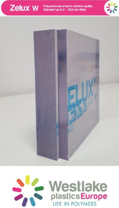 Zelux W: policarbonato transparente de alta calidad óptica - Policarbonato transparente grueso estable a los rayos UV, ignífugo UL94 V-0