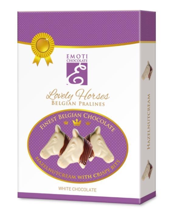 EMOTI Horse's Head White Chocolates with hazelnut filing, 95 -