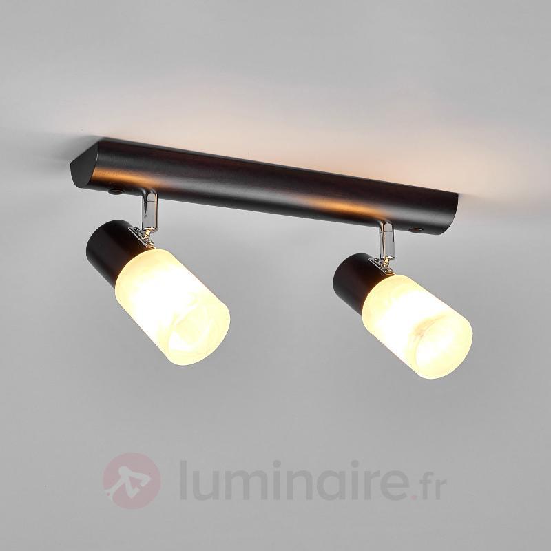Plafonnier 2 lampes Kira avec du bois - Plafonniers en bois