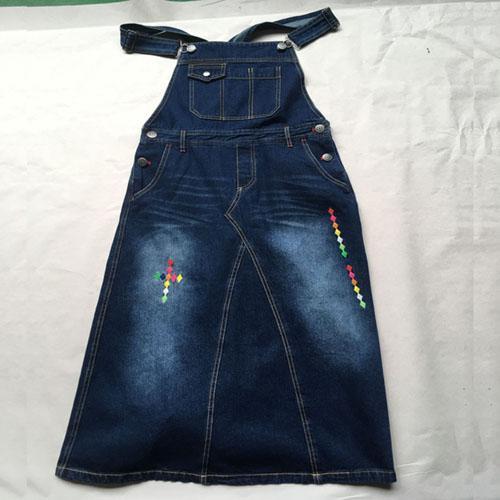 Denim suspender skirt  Stonewashed dark blue denim dress -