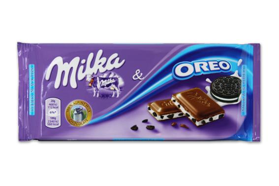 MILKA & OREO Alpine milk chocolate with the cocoa and vanilla cream filled confe