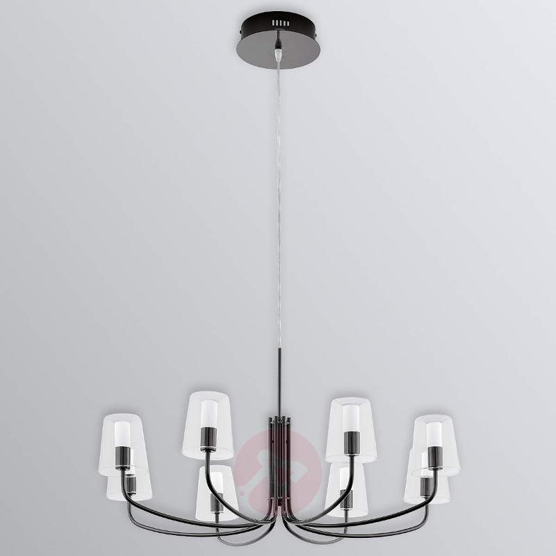 Noventa - 8-bulb LED chandelier with glass shades - Pendant Lighting
