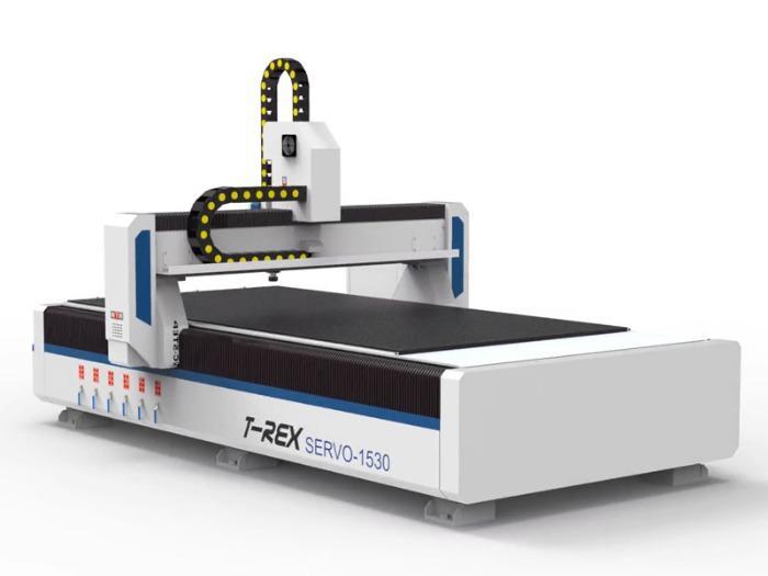 CNC Fräse mit Servomotoren T-Rex Servo-1530 - CNC Portalfräse mit geschlossenen Energieketten und Mehrzonen-Vakuumntisch