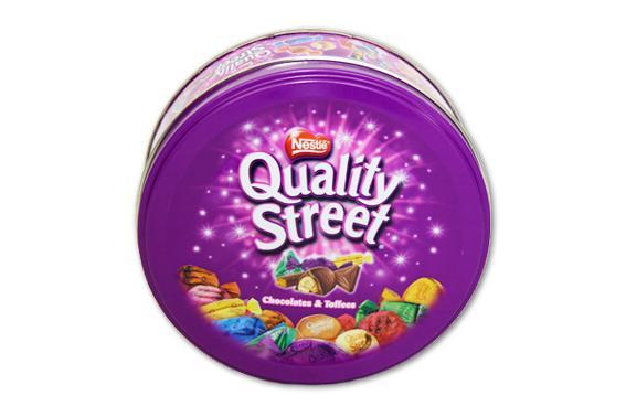 NESTLE Nestlé Quality Street (Chocolates & Toffees) round metallic box - null