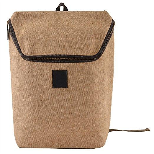 Male/Female Leather Canvas Backpack Cream