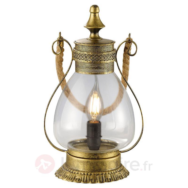 Lampe à poser Linda romantique, laiton ancien - Lampes à poser rustiques
