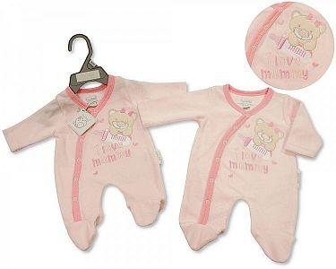 Premature Baby Girls Velour All in One - I Love Mummy -