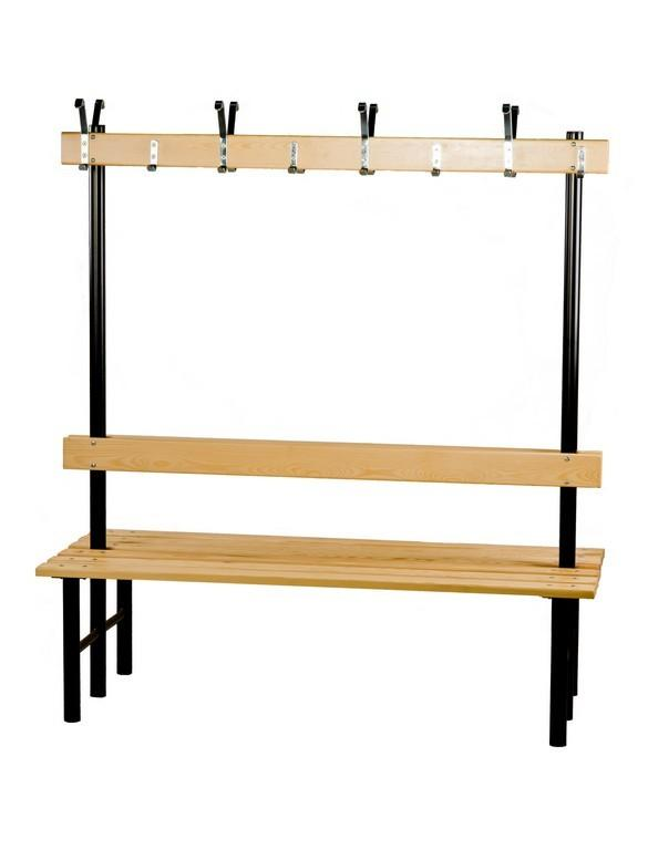 Double-sided bench with a hookrail for gyms. - null