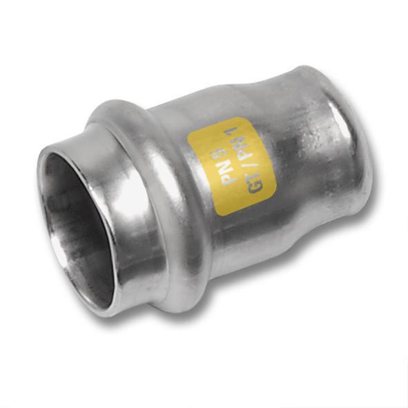 Edelstahl-Rohrleitungssystem NiroSan® Gas Kappe - NiroSan® Gas Kappe mit Pressanschluss