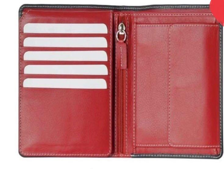 LEATHER WALLET - LEATHER WALLET CHERRY FOR MEN AND WOMEN