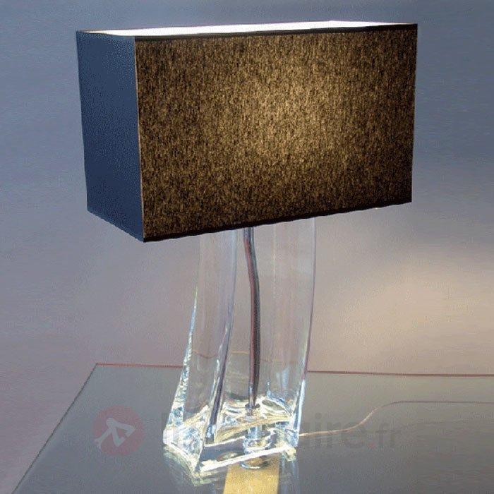 Lampe à poser noire NADINE pied transparent - Lampes à poser en tissu