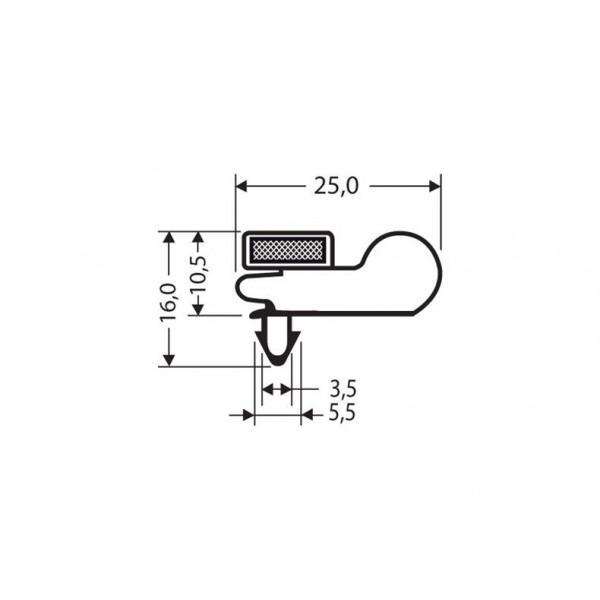 Eindrückprofil PVC weiß L = 2,55 m mit Magnet M66 - Kälte Kühlraum