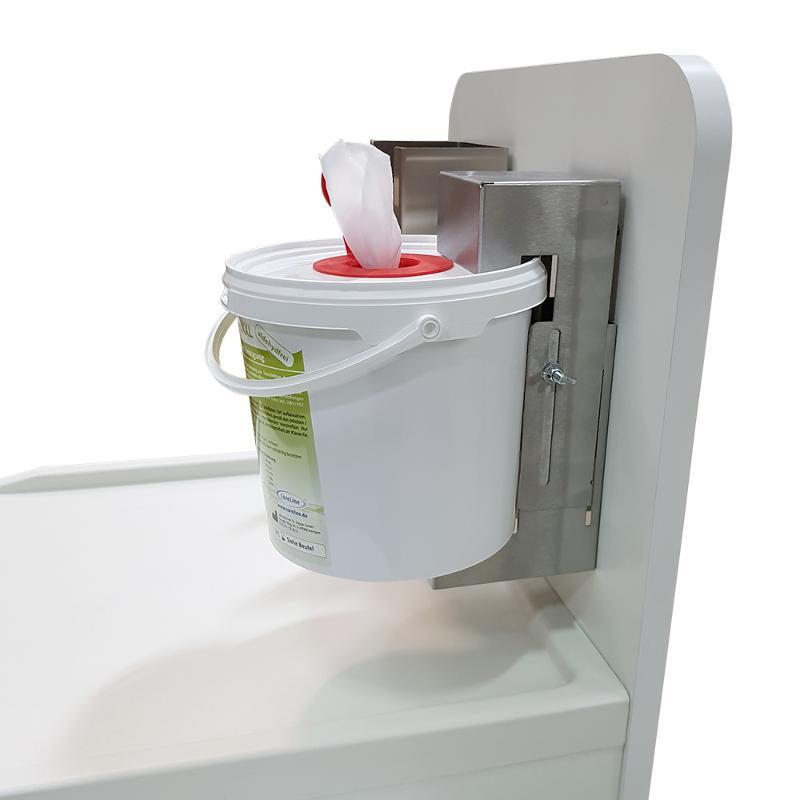 Eimerhalterung, Edelstahl, für Desinfektionstücher-Eimer - Pflegewagen