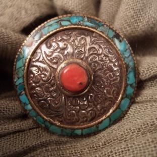 Bagues - Argent, cuivre, turquoises, corail, Népal