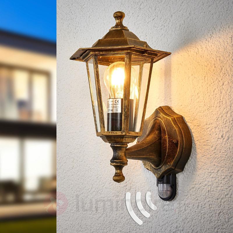 Applique d'extérieur infrarouge PEKING noire dorée - Appliques d'extérieur avec détecteur