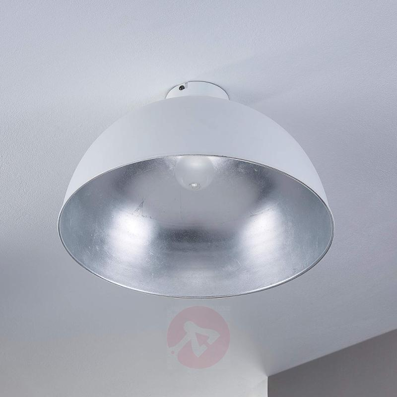 Round ceiling lamp Lya, white and silver - indoor-lighting