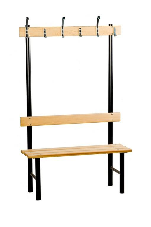 Single sided bench with a hook rail for changing and cloakrooms. - null