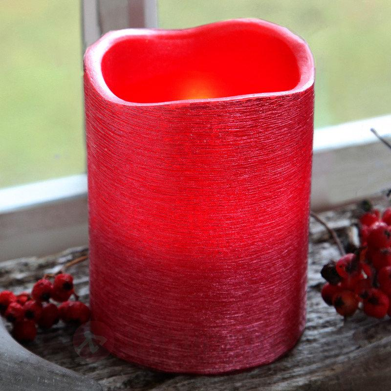 Bougie LED Linda en cire rouge 10 cm - Bougies LED