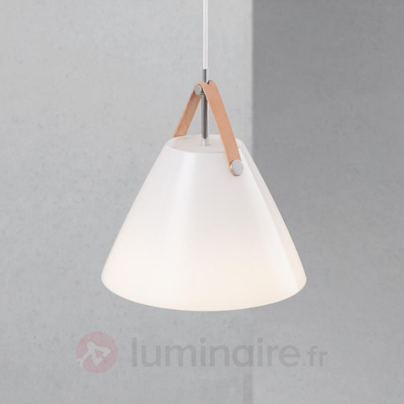 Suspension LED en verre Strap 27 avec bride cuir - Suspensions en verre