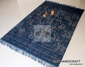 Cotton rugs, indigo carpet, handmade dabu mud printed rugs - indigo blue rugs and carpets, dabu mud resist cotton rugs