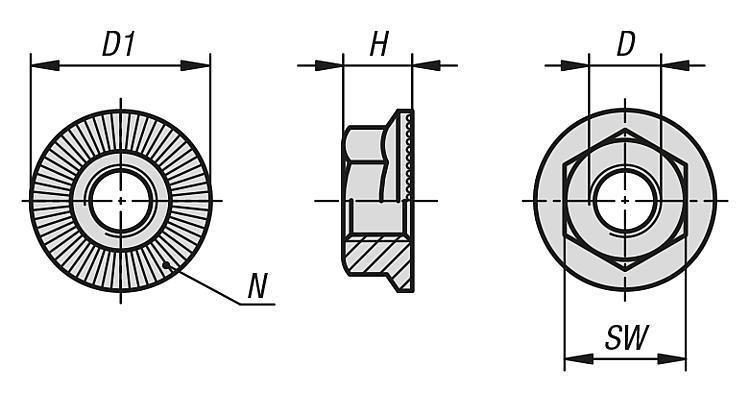 Écrous H à embase cylindro-tronconique avec dents - Éléments de liaison