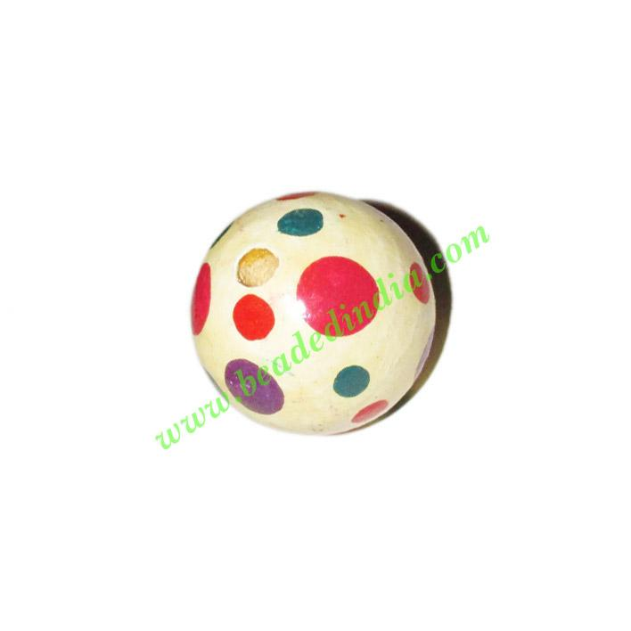 Wooden Painted Beads, Fancy Design Hand-painted beads, size  - Wooden Painted Beads, Fancy Design Hand-painted beads, size 25mm, weight approx