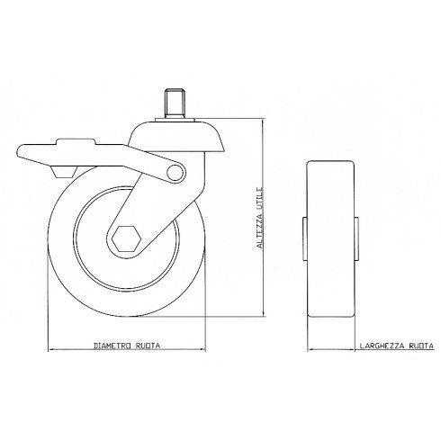 Ruote in gomma supporto girevole - Ruote per arredamento