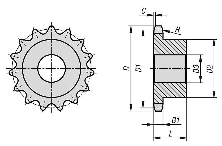 "Pignons simples 3/8"" x 7/32"" inox DIN ISO 606 - Chaînes et pignons"