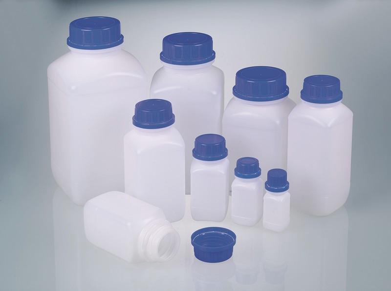 Wide-neck reagent bottle - Plastic bottle, HDPE, transparent, PP tamper-evident screw cap