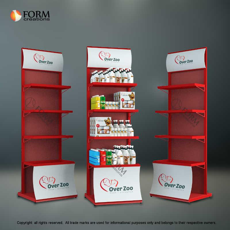 Display stand for dog cosmetics - with moving shelves