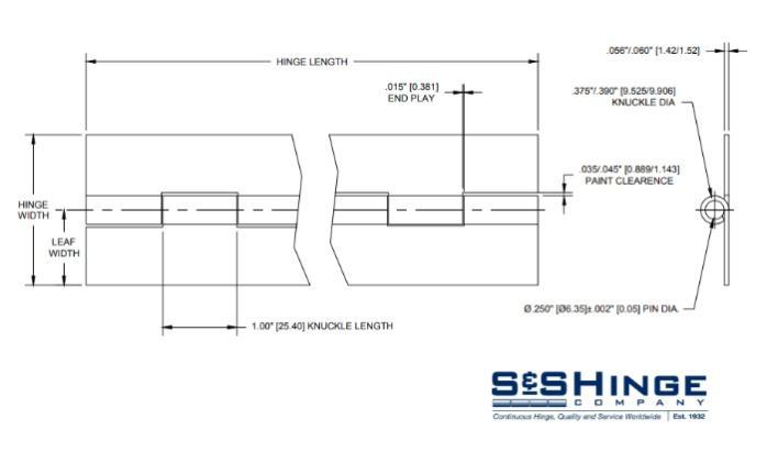 Hinges - 1800 Series - CAD files - 1813x96