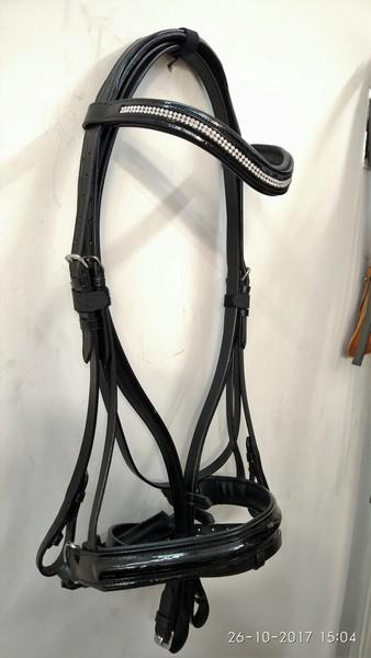 Waved Browband Bridle with two line crystal with reins - waved leather bridle on patent with crystal  with reins