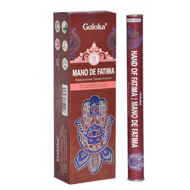 Caja Varas Mano De Fatima Goloka (6 Tubos Cilíndricos) - Inciensos y aceites Goloka