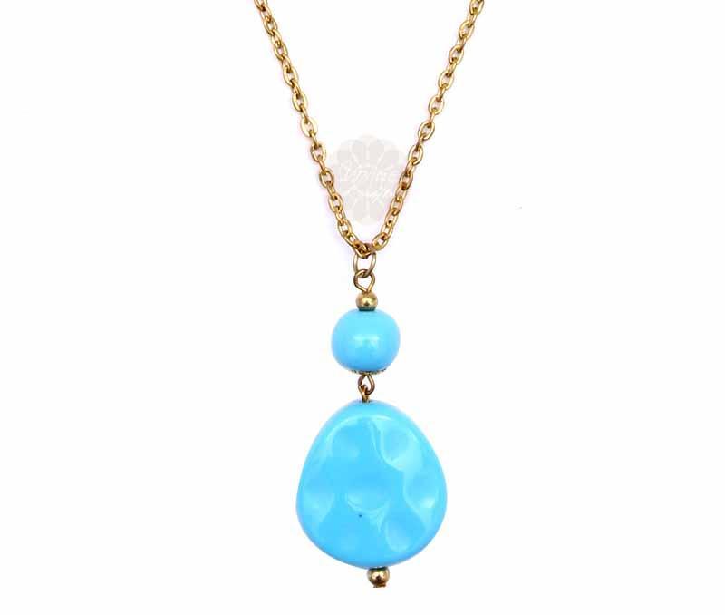 Graceful Blue Bead Pendant -