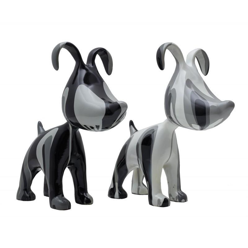 Set de 2 sculptures COUPLE DE CHIENS en résine - Objets de décoration design-715235653975
