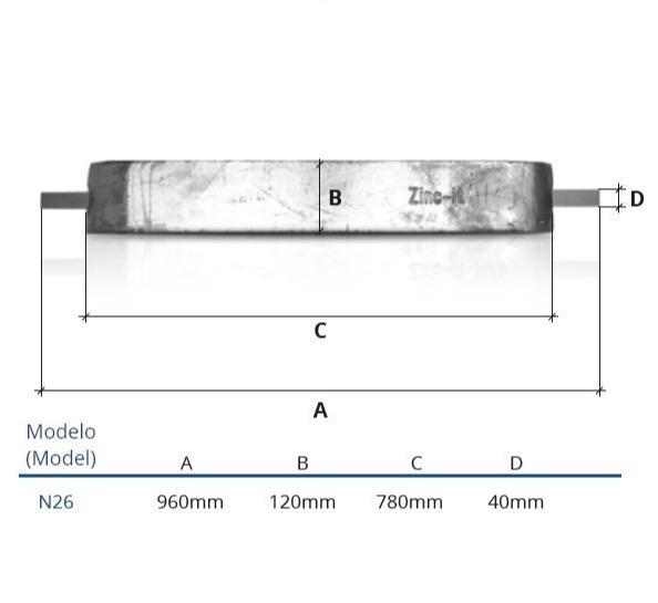 Ânodo de zinco para protecção catódica - Ânodos de casco N26