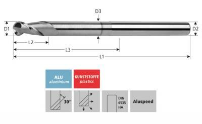 Milling Tools: for aluminium - sc ball nose end mill, Z=2, with toric cut